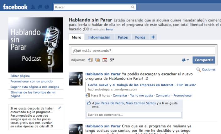 Pagina en Facebook de Hablando sin Parar